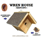 Wren House Autumn Brown Roof hanging