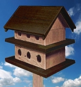 Purple Martin House - Dark Brown & Natural Cedar