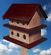 Purple Martin House - Dark Red & Natural Cedar